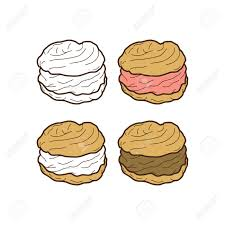 cream puff cake pastry theme vector art illustration Stock Vector