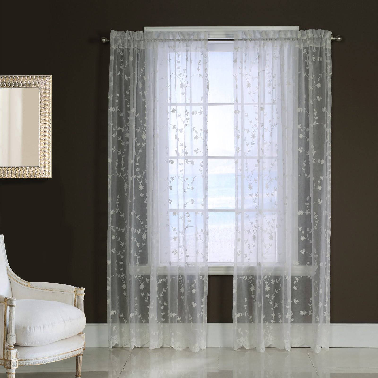 Habitat Grandeur Embroidered Pole Top Curtain Panel White
