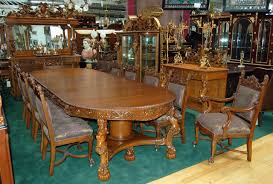 Magnificently Carved 16 Piece Oak Antique Dining Set With Figural Maidens And Winged Cupids Attributed