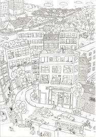 City Coloring Pages Boutique Dessin