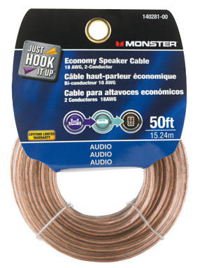 Monster Economy Speaker Cable - Wire Grade 50', 18AWG, 2 Conductor