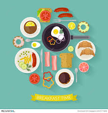 Vector Breakfast Time Illustration With Flat Icons Fresh Food And Drinks In Style