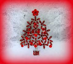 50 On SALE Red Christmas Tree Pin BroochRed Brooch