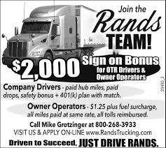 100 Owner Operator Trucking Jobs Company Drivers S Rands Inc Medford WI