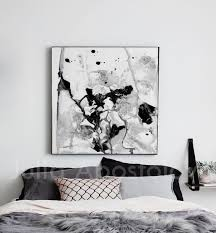 Contemporary Black White Wall Art Minimalist Abstract Painting Ready To Hang Canvas Print