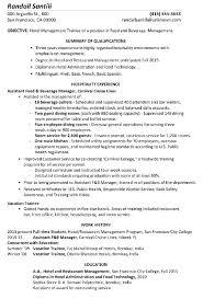 Hotel Management Trainee Resume