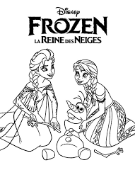 Elsa Queen And Princess Anna Helping Olaf Colouring Page