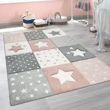 kinderzimmer teppich rosa grau pastellfarben karo muster sterne punkte design grösse 80x150 cm