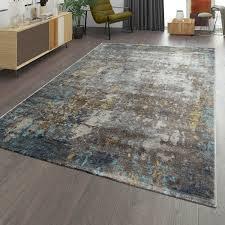 wohnzimmer teppich im used look moderner kurzflor teppich
