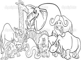 African Safari Animal Coloring Pages Sketch Page