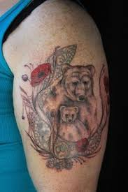 Incomplete Mama Bear And Baby Upper Arm Tattoo