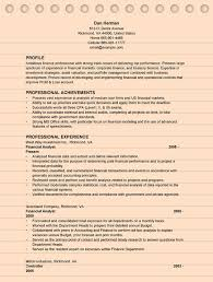 Sample Financial Analyst Resume