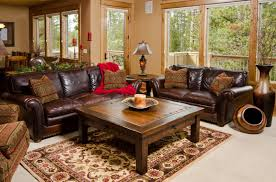 Rustic Family Rooms With Leather Furniture Ideas Country Living Room