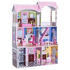 Costzon Kids Dollhouse Toy Family House Play Accessories Cottage Uptown Doll House Pretend Play Doll Playhouse Cottage Set With 13 Pcs Furniture