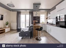 moderne wohnung mit offener küche und gemütliche wohnzimmer