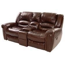 Wall Hugger Reclining Sofa by Dellis Recliner Leather Sofa W Console El Dorado Furniture