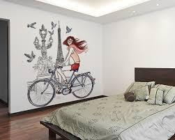 Paris Girl Bicycle Bedroom Wall Sticker