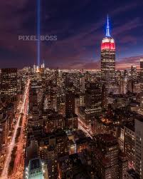 Tribute in Light Empire State Building and NYC Skyline Pixel