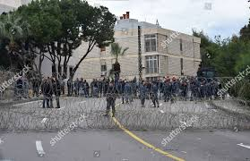 100 Rabieh Lebanese Policemen Stand Guards Behind Barbed Wires
