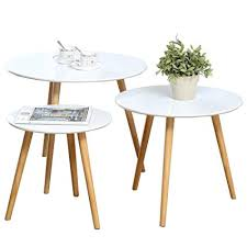 Nesting Tables Set Of 3 Coffee Table Round End Side Night Stand Telephone Sofa