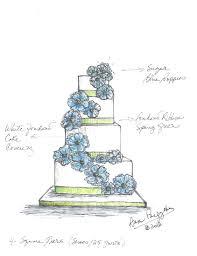 Blue Poppies Wedding Cake Sketch
