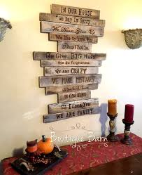 Family Rules Sign Wood Rustic Art Wall Decor Farmhouse Country Inspirational Housewarming Gift