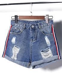 2017 wholesale 2017 new fashion holes rolling hem women denim