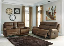 Wall Saver Reclining Couch by Ashley Austere Brown Reclining Sofa And Reclining Love With