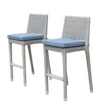 Sirio Patio Furniture Covers by Sirio Niko Ash Grey Wicker Bar Stool With Denim Blue Cushions