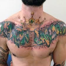 Mens Street Art Graffiti Chest Tattoo With Crown