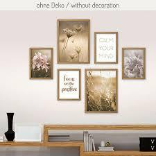 6 teiliges poster set blüte inkl rahmen wandbild deko
