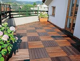 wood tiling wooden floor on the balcony interior design ideas