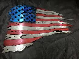 US American Flag Metal Wall Art Tattered Sculpture Airbrushed