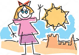 Childlike Drawing Of A Little Girl Waving And Playing By Sandcastle Stock Vector