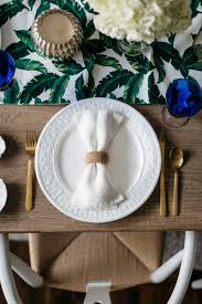 My Tablescape Design Started With This Cute Tropical Leaf Table Runner And Was The Basis Of Summer Beach Theme