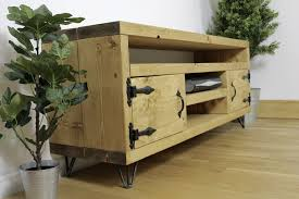 Rustic Brook Widescreen Tv Unit Handcrafted By New Forest Furniture Finished In Medium Oak Style