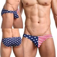 Men Boxer Brief Bikini USA Flag Stars Stripes Triangle Pant