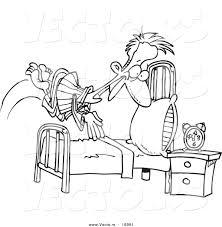 Vector Of A Cartoon Man Diving Into Bed