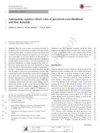PDF) Anticipating Cognitive Effort: Roles Of Perceived Error ...