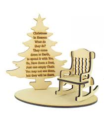 Laser Cut 'Christmas In Heaven' Quote On A Stencil Plaque With Christmas  Tree, Rocking Chair And Base Set