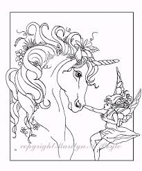 ADULT COLORING PAGE Fantasy Unicorn Fairy By OriginalSandMore