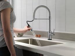 Delta Trinsic Faucet With Soap Dispenser by Nickel Centerset Delta Trinsic Kitchen Faucet Two Handle Pull Down