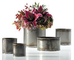 Rustic Metal Vase Flower Cache Pot Bud Tin