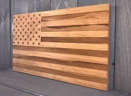 Wood Engraved American Flag