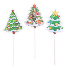 Cupcake Toppers 10pcs Cake Paper Christmas Tree Cake Decoration For Fondant Cake Small Mousse Cheese Tiramisu