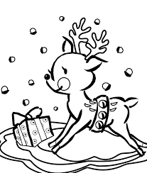 Presents And Reindeer Coloring Pages