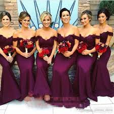 Gorgeous Arabic Burgundy Lace Bridesmaid Dresses 2017 Mermaid Off Shoulder Ruffled Vintage Garden Wedding Guest Maid Of Honor Dress
