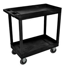2 Tub Shelf Plastic Utility Cart With