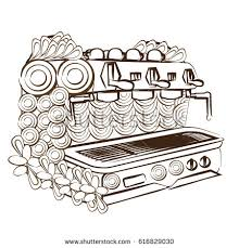 Line Art Design Coloring Page Coffee Machine