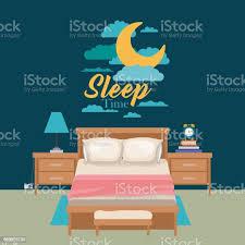 farbe plakat szene nachtlandschaft niedlichen schlafzimmer schlafen zeit stock vektor und mehr bilder abenddämmerung
